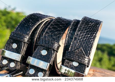 Fashion Luxury Snakeskin Leather Belts Outdoors. Python Belts On A Tropical Background. Indonesia, B