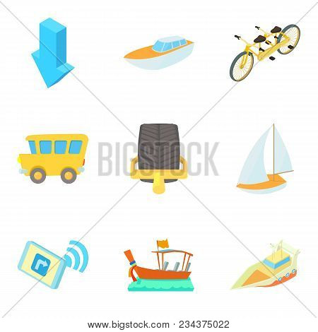 Movement Icons Set. Cartoon Set Of 9 Movement Vector Icons For Web Isolated On White Background