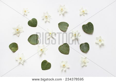 Styled Stock Photo. Feminine Spring Desktop Composition With White Narcissus, Daffodil Flowers And D