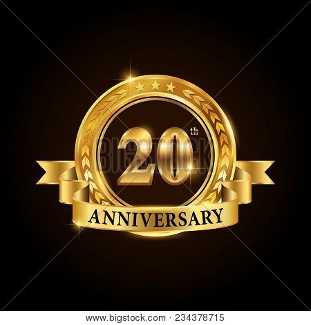 20 Years Anniversary Celebration Logotype. Golden Anniversary Emblem With Ribbon. Design For Booklet