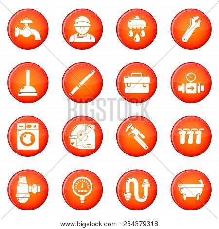 Plumber Symbols Icons Set Vector Red Circle Isolated On White Background