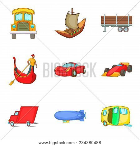 Automobile Icons Set. Cartoon Set Of 9 Automobile Vector Icons For Web Isolated On White Background