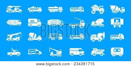 Truck Icon Set. Simple Set Of Truck Vector Icons For Web Design Isolated On Blue Background