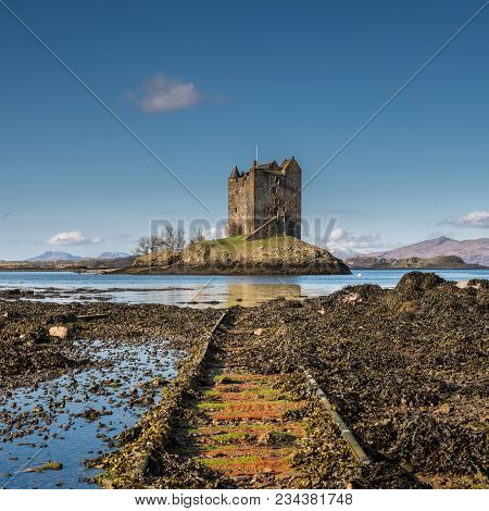 Castle Stalker Is A Medieval Tower House Standing On A Small Rocky Islet In The Mouth Of Loch Laich.