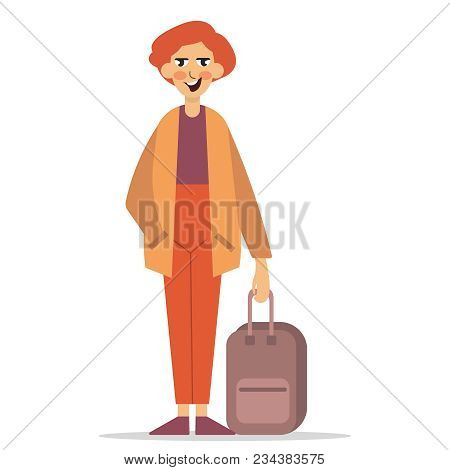 Man Arriving Wqith Suitcase. The Man Is Holding A Suitcase. Vector Illustration Flat Icon Eps10