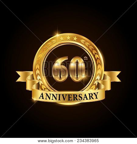60 Years Anniversary Celebration Logotype. Golden Anniversary Emblem With Ribbon. Design For Booklet