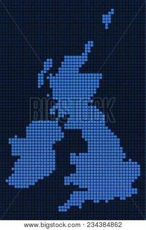 Dot Great Britain And Ireland Map. Vector Mosaic Of Great Britain And Ireland Map Constructed Of Squ
