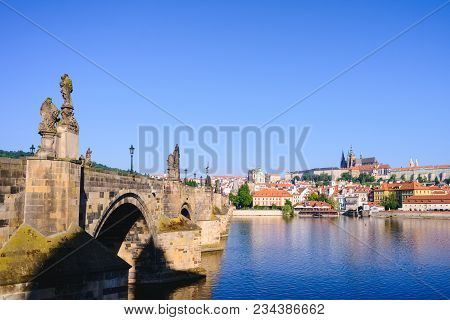 Prague, Bohemia, Czech Republic. Hradcany Is The Praha Castle With Churches, Chapels, Halls And Towe