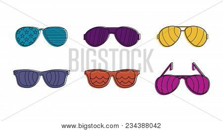 Sunglasses Icon Set. Color Outline Set Of Sunglasses Vector Icons For Web Design Isolated On White B