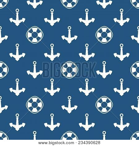 Seamless Travel Pattern With Anchor And Lifebuoy, Marine Tourism Concept , Vector Illustration