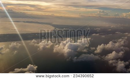 Picture Of Aerial View Over Songkhla Lake In The Southern Part Of Thailand At Sunset Time.songkhla L