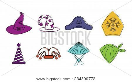Haloween Hat Icon Set. Color Outline Set Of Haloween Hat Vector Icons For Web Design Isolated On Whi