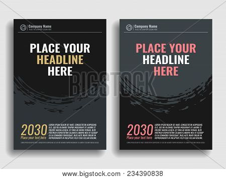 Collection Of Covers With Brush Strokes For Books, Magazines, Catalogs. Vector Illustration.