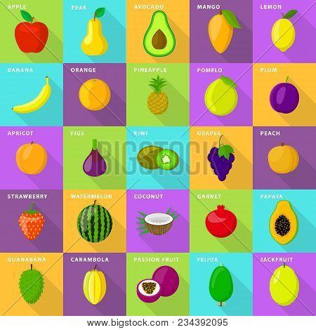 Fruits Food Mixed Juice Fresh Icons Set. Flat Illustration Of 25 Fruits Food Mixed Juice Fresh Vecto