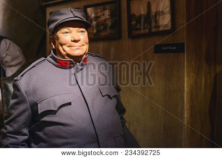 Prague, Czech Republic - May 2017: The Wax Figure Of The Soldier Schweik - Protagonist Of The Satire