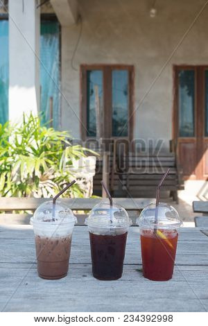 Various Types Of Iced Drink (lemon Tea, Iced Black Coffee And Iced Chocolate)