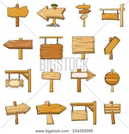 Signpost Road Wooden Icons Set. Cartoon Illustration Of 16 Signpost Road Wooden Vector Icons For Web