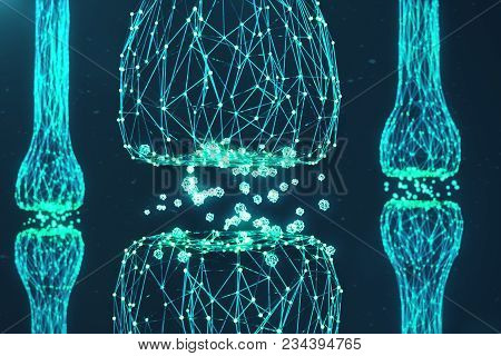 Blue Glowing Synapse. Artificial Neuron In Concept Of Artificial Intelligence. Synaptic Transmission