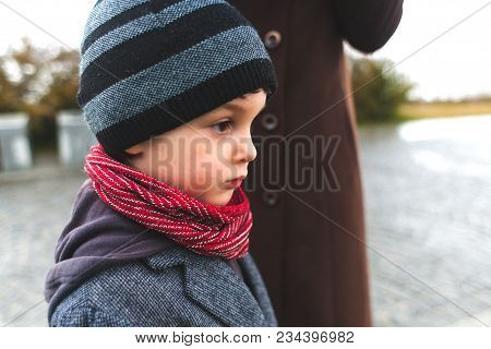 A Boy On A Walk With His Mom.