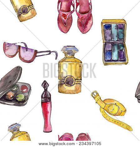 Fashionable accessories  glamour illustration. Clothes accessories set trendy vogue outfit.  poster
