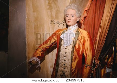 Prague, Czech Republic - May 2017: Wax Statue Wolfgang Amadeus Mozart, A Piano Virtuoso In The Wax M