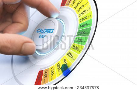 Man Turning A Calorie Knob To Reduce Daily Intake Level. Composite Image Between A Hand Photography