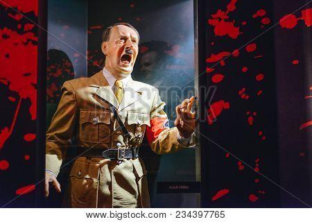 Prague, Czech Republic - May 2017: Adolf Hitler Statue In The Madame Tussaud Museum In Prague. Madam