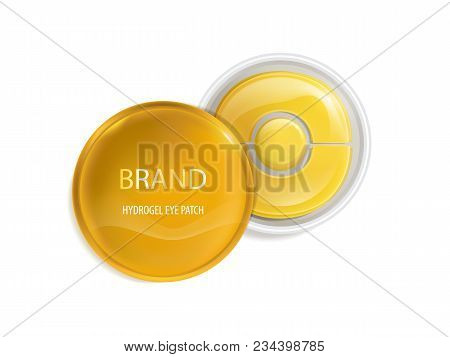 Vector Realistic Plastic Round Jar With Set Of Patches For Eyes, With Gold And Hydrogel Isolated On