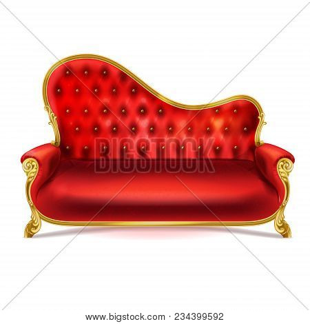 Vector Realistic Luxurious Red Leather, Velvet Or Silk Sofa With Golden Carved Legs Isolated On Whit