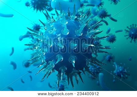 3d Illustration Pathogenic Viruses Causing Infection In Host Organism. Viral Disease Epidemic. Virus