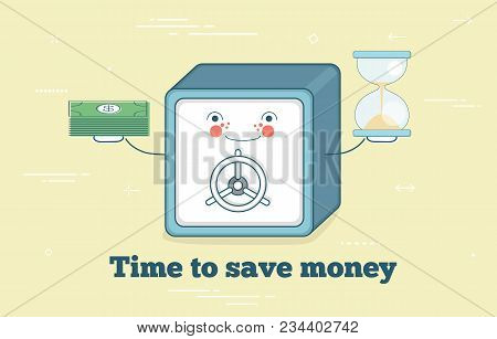 Time To Save Money Trendy Concept In Line Art Style. Banking And Finance, Ecommerce Service Sign, Bu
