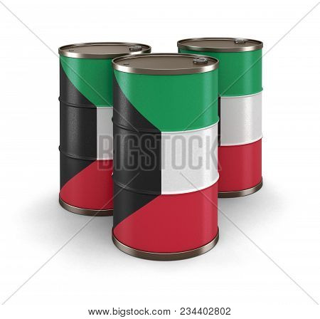 3d Illustration. Oil Barrel With Flag Of Kuwait. Image With Clipping Path
