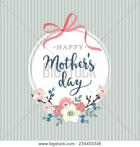 Mothers Day Greeting Card, Invitation. Brush Script, Calligraphic Design. White Label With Ribbon, F