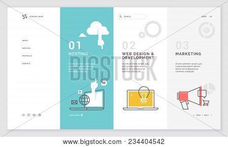 Effective Website Template Design. Modern Flat Design Vector Illustration Concept Of Web Page Design