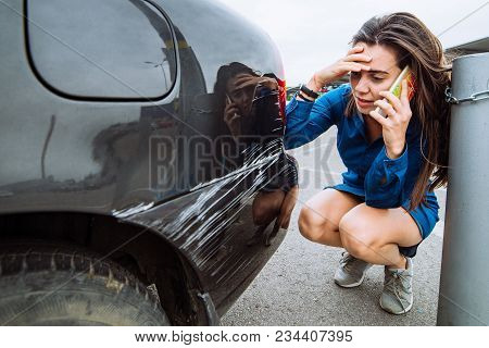Woman Stand Near Scratched Auto. Call For Help. Car Insurance