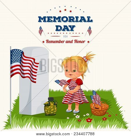 Memorial Day, Childs On Military Cemetery, Little Girl Lays Flowers On Grave War Veteran, Family Chi