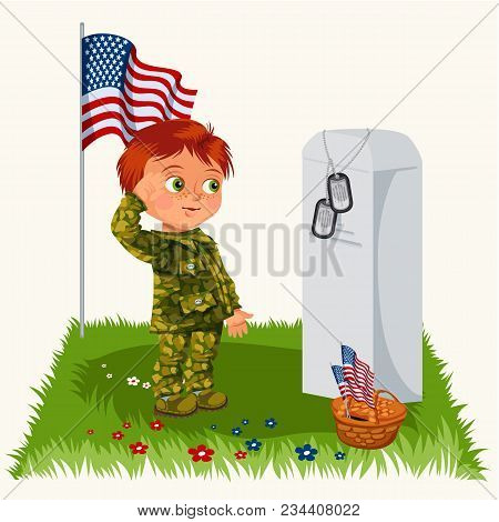 Memorial Day, Childs On Military Cemetery, Little Boy In Uniform Salutes On Grave War Veteran, Famil