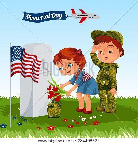 Memorial Day, Childs On Military Cemetery, Little Girl And Boy On Grave War Veteran, Family Children