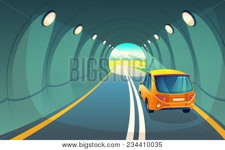 Vector Illustration Of Tunnel With Car, Highway For Vehicle. Grey Asphalt With Lighting In Undergrou