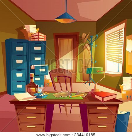 Vector Working Space Of Detective, Office Room Interior. Desktop, Cabinet, Bookshelves, Chair, Table