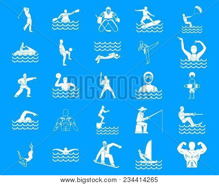 Sportsman Icon Set. Simple Set Of Sportsman Vector Icons For Web Design Isolated On Blue Background