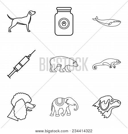 Livestock Icons Set. Outline Set Of 9 Livestock Vector Icons For Web Isolated On White Background