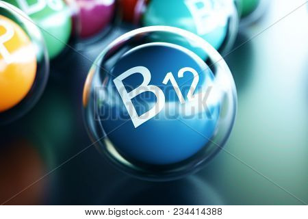 Vitamin B12, On Black Background. Symbol Of Health And Longevity, 3d Rendering