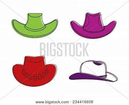 Cowboy Hat Icon Set. Color Outline Set Of Cowboy Hat Vector Icons For Web Design Isolated On White B