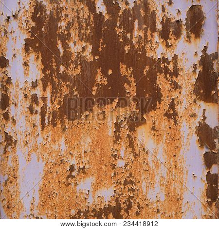 Old Rusty Metal Background Or Texture. Deterioration Of The Steel, Decay
