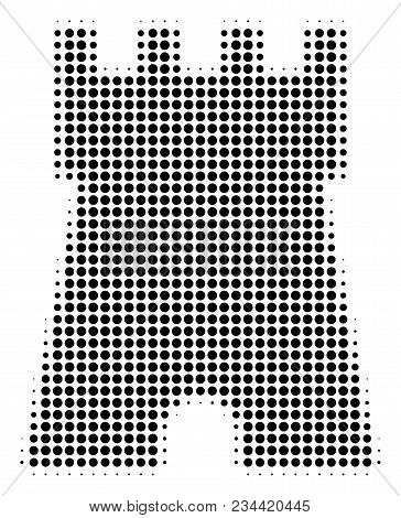 Bulwark Tower Halftone Vector Pictogram. Illustration Style Is Dotted Iconic Bulwark Tower Icon Symb