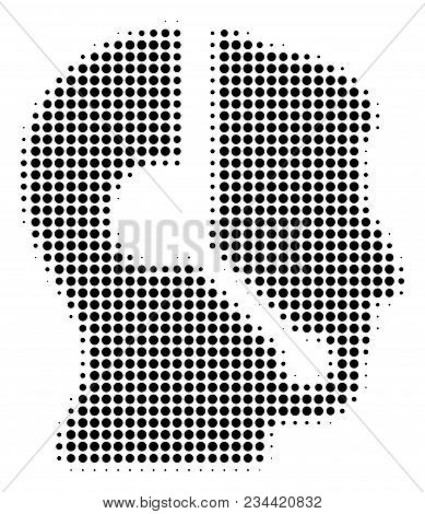 Call Center Operator Halftone Vector Icon. Illustration Style Is Dotted Iconic Call Center Operator