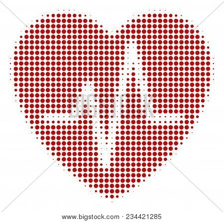 Cardiology Halftone Vector Icon. Illustration Style Is Dotted Iconic Cardiology Icon Symbol On A Whi