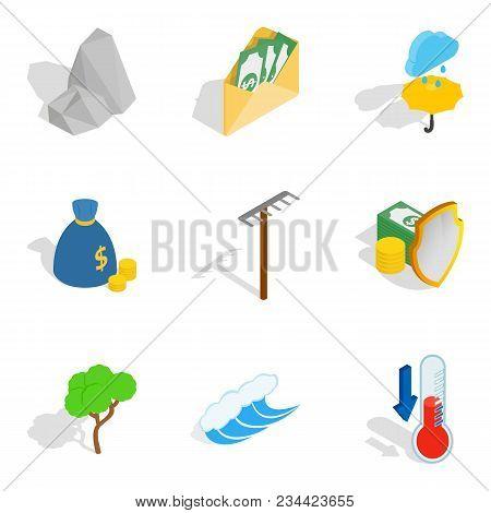 Sustainable Icons Set. Isometric Set Of 9 Sustainable Vector Icons For Web Isolated On White Backgro