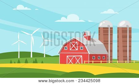 Vector Cartoon Style Illustration Of Farm Building - Barn On Rural Landscape. Eco Wind Mills On The